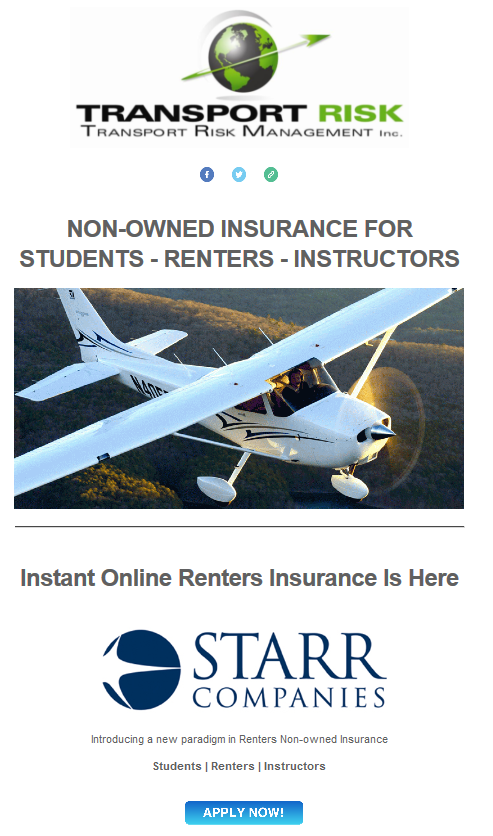 Transport Risk Renters and Instructors Non-owned Insurance